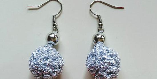 Silver crochet golden age earrings