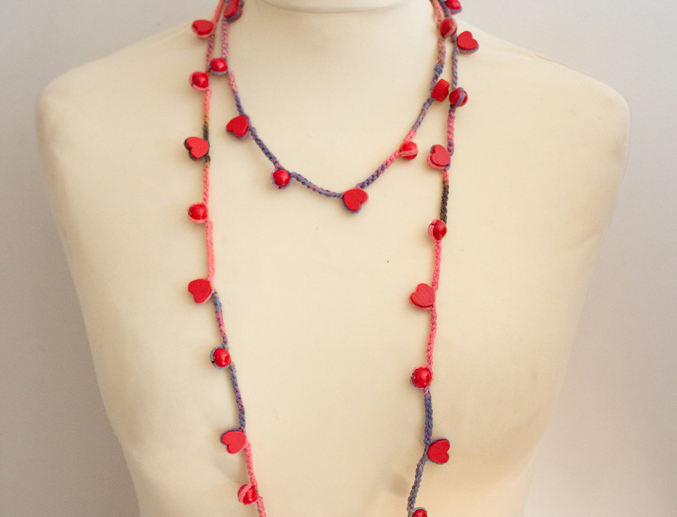Red crocheted necklace with wooden pearls