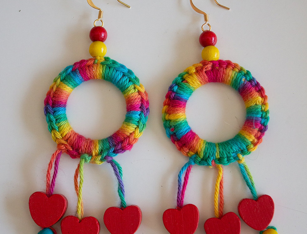 Colourful crocheted earrings with wooden hearts