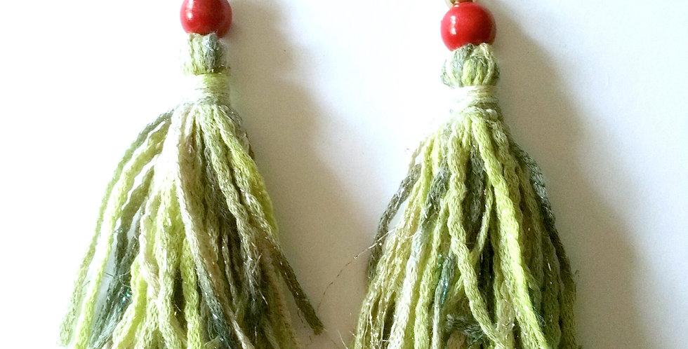 Tossel earrings, green