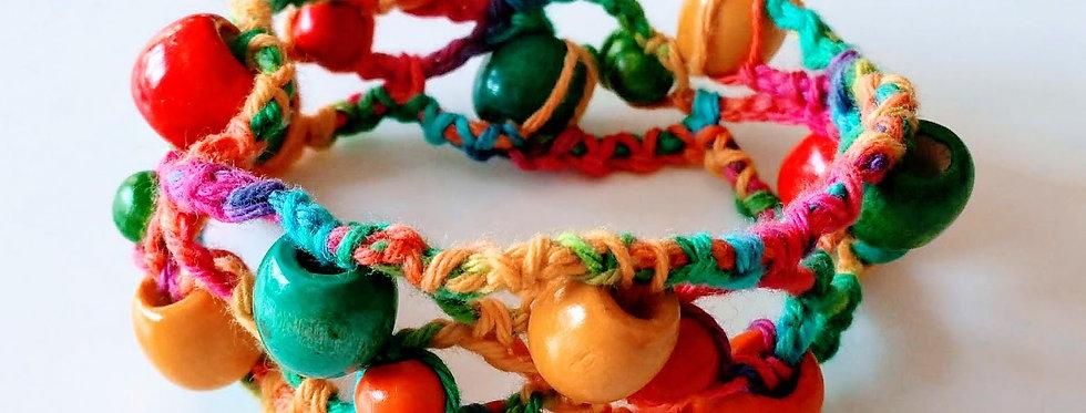 colorful wonderland bracelet with wooden pearls