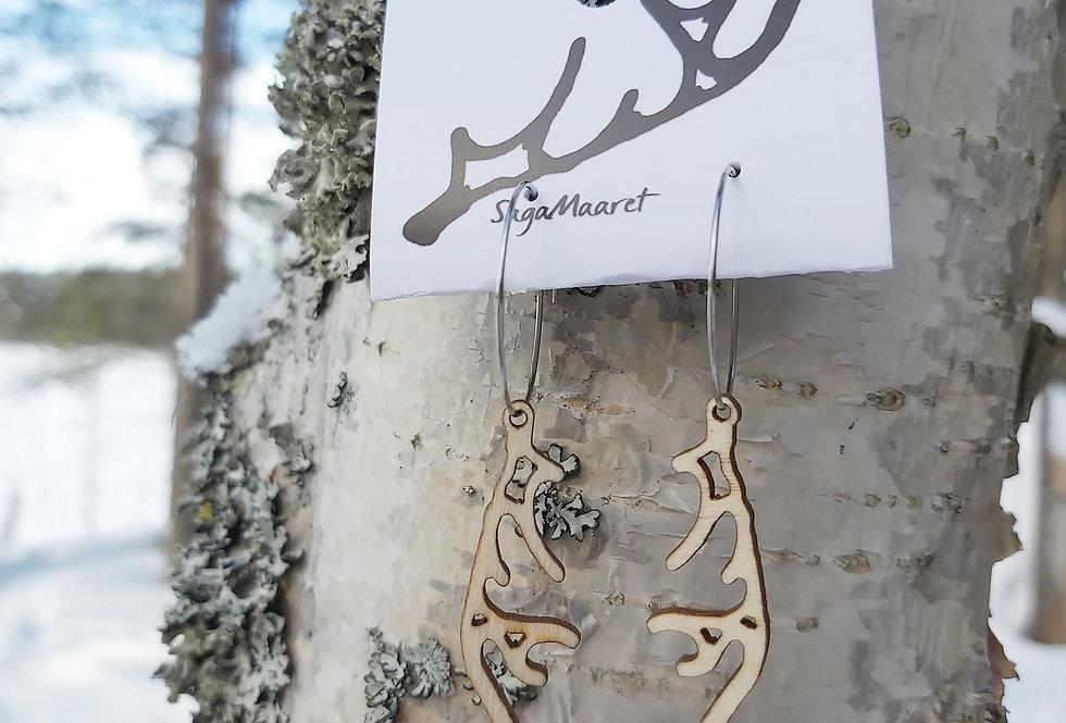 Reindeer horn earrings, light wood