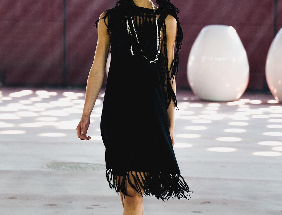 black knitted nordic amazon fringe dress