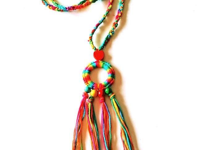 Heartdrop pendant, rainbow