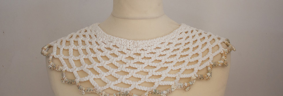 white crocheted lace collar with golden decoration