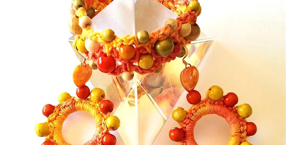 Sunflower jewelry set, yellow-orange