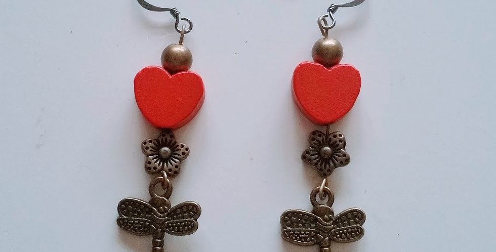 love earrings, dragonfly