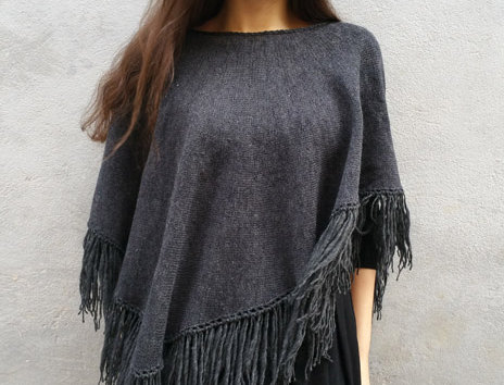 charcoal knitted dervish poncho