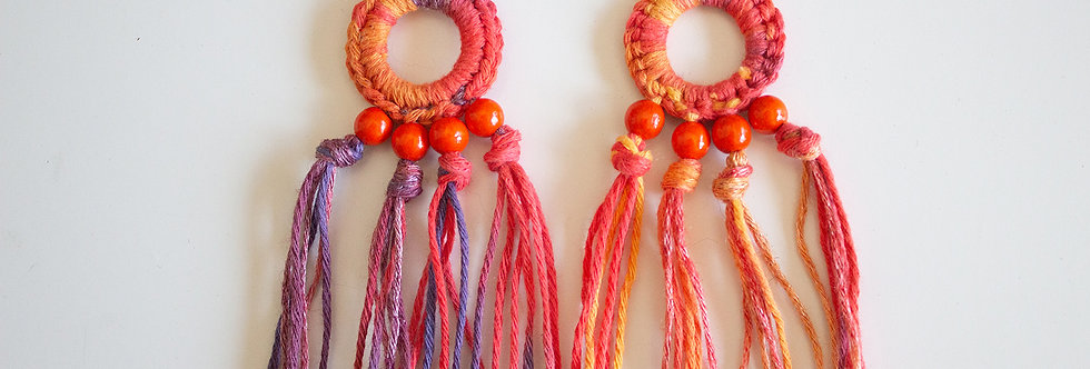 Red crocheted earrings with wooden pearls