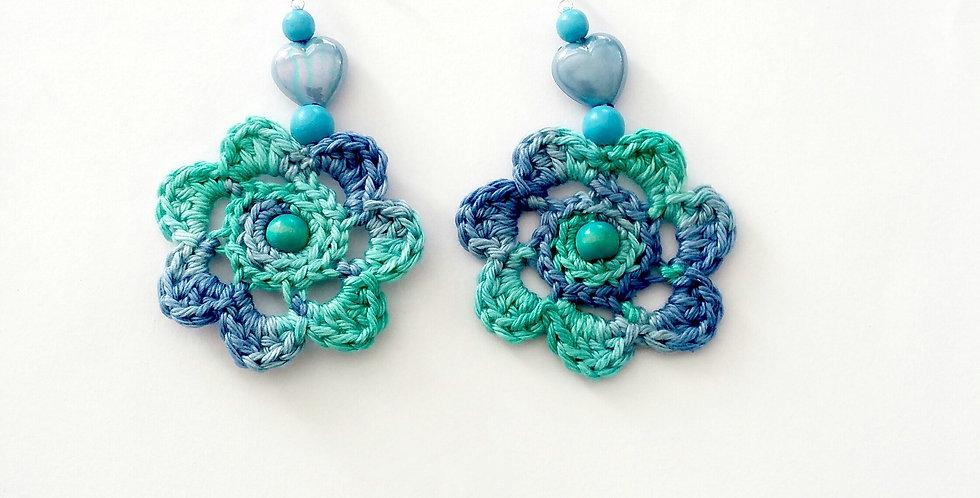 Flower of Life earrings, turquoise