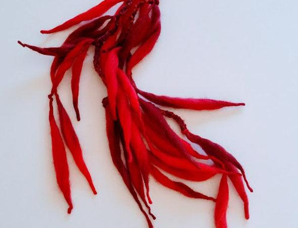 Fire coloured crocheted Dragon hair clip