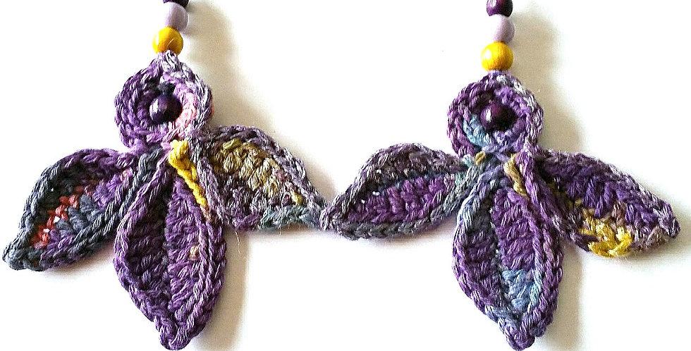 Fairy wings earrings, violet