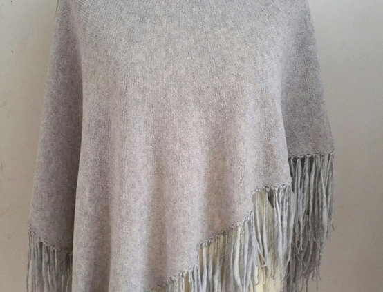 silver grey knitted dervish poncho
