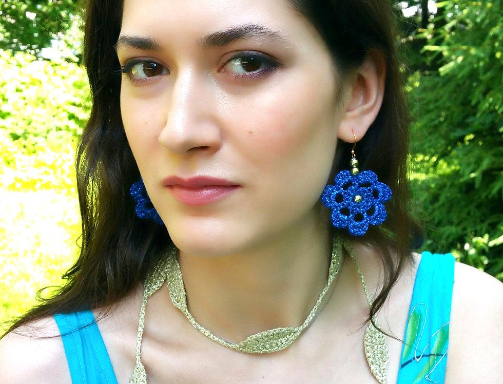 Flower of Life lace earrings, metallic blue