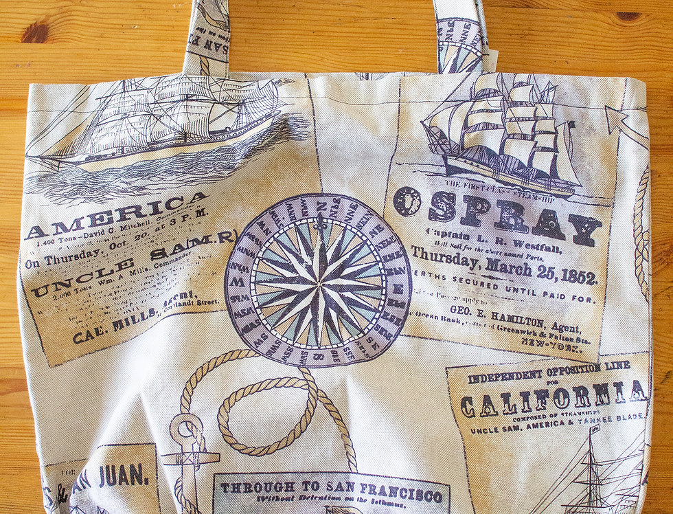 sea print reusable shopping bag front