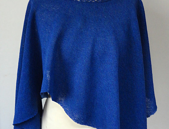 Blue knitted Diamond wings poncho