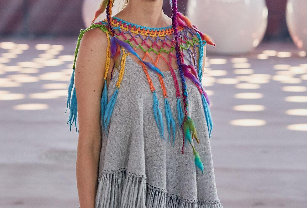 spectrum crocheted louhi lace web on catwalk