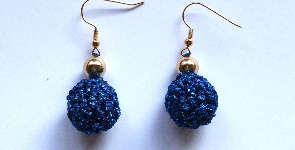 Blue crochet golden age earrings
