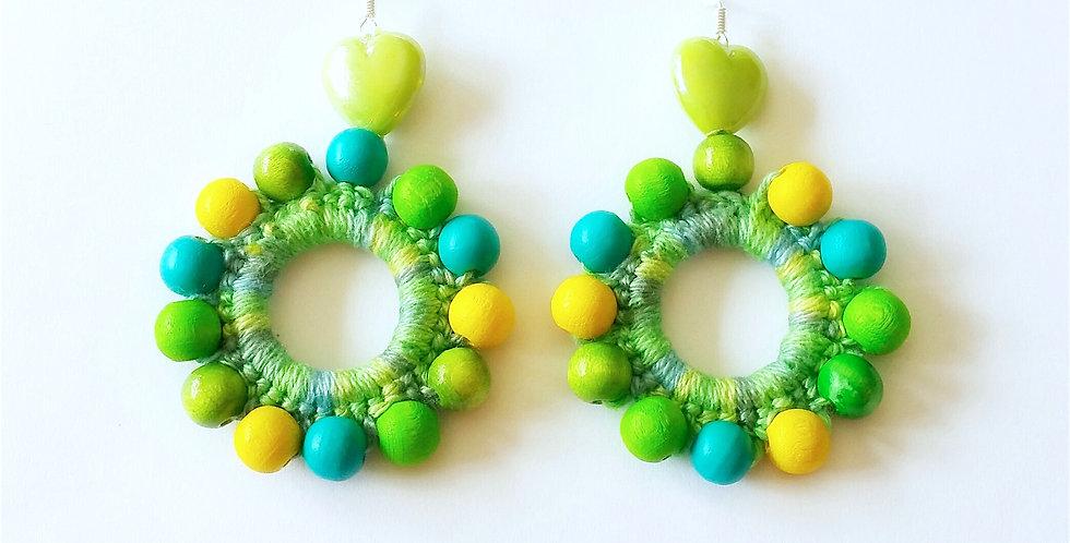 Sunflower earrings, Green meadow
