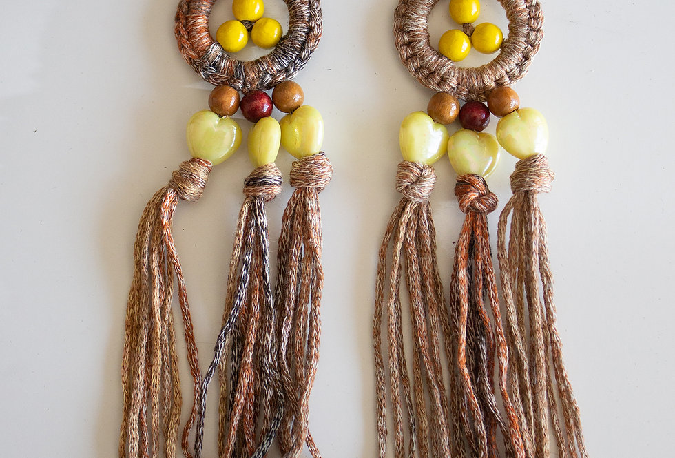 Brown-yellow crocheted earrings with wooden pearls