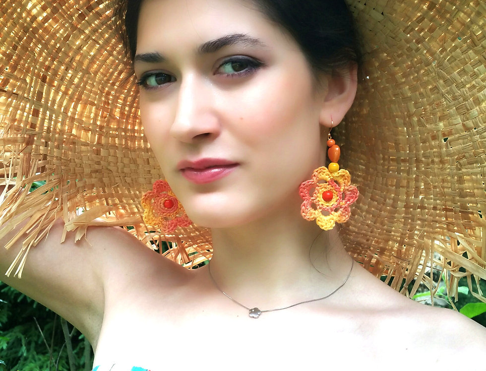 Flower of Life earrings, yellow orange
