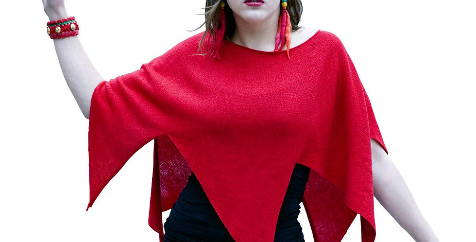 """Nordic Star"" Poncho (red)"