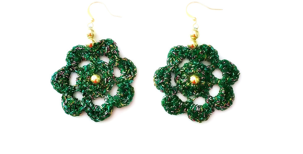Flower of Life earrings, emerald green