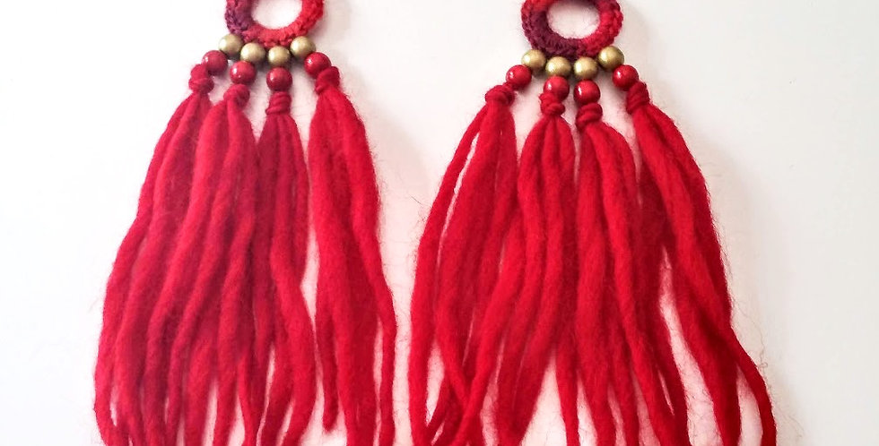 WoodO earrings (red)