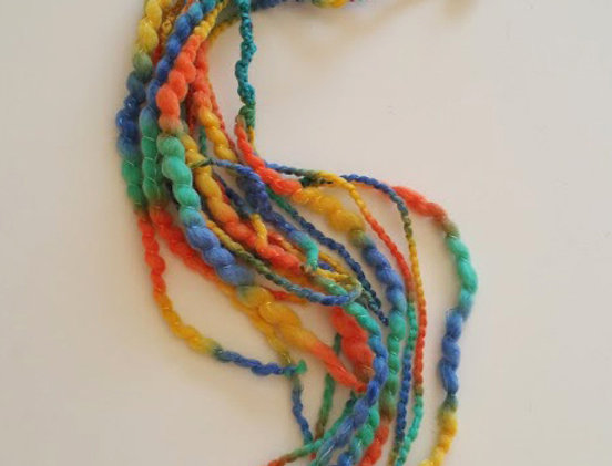 Carnaval coloured crocheted Drgaon hair clip