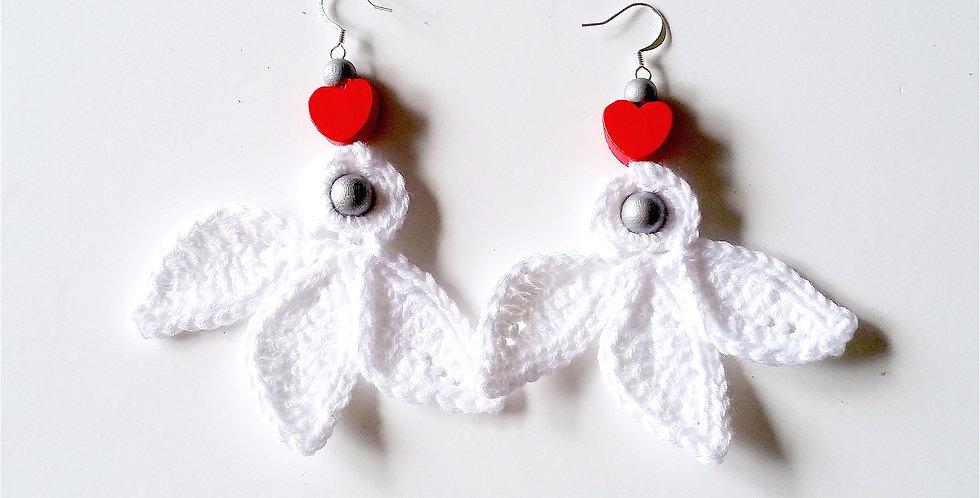 Christmas Flower earrings, white