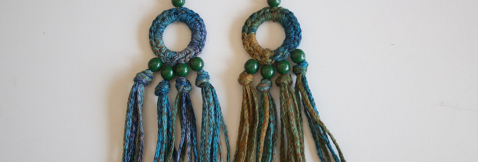 Petrol blue crocheted earrings with wooden pearls