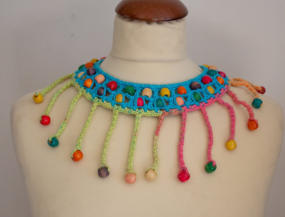 blue crocheted decorative nefertiti necklace collar with wooden pearls