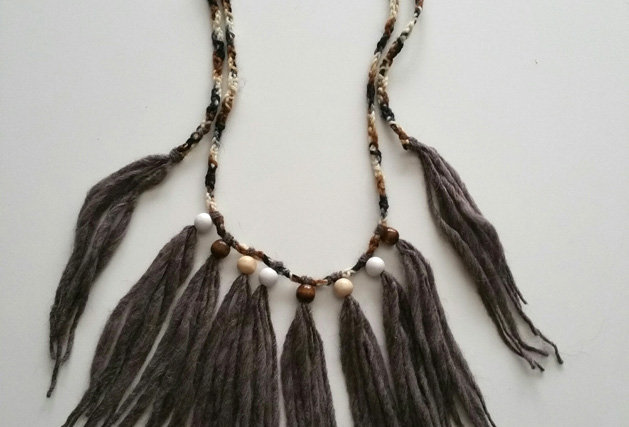 kalevala wood o necklace with wooden pearls