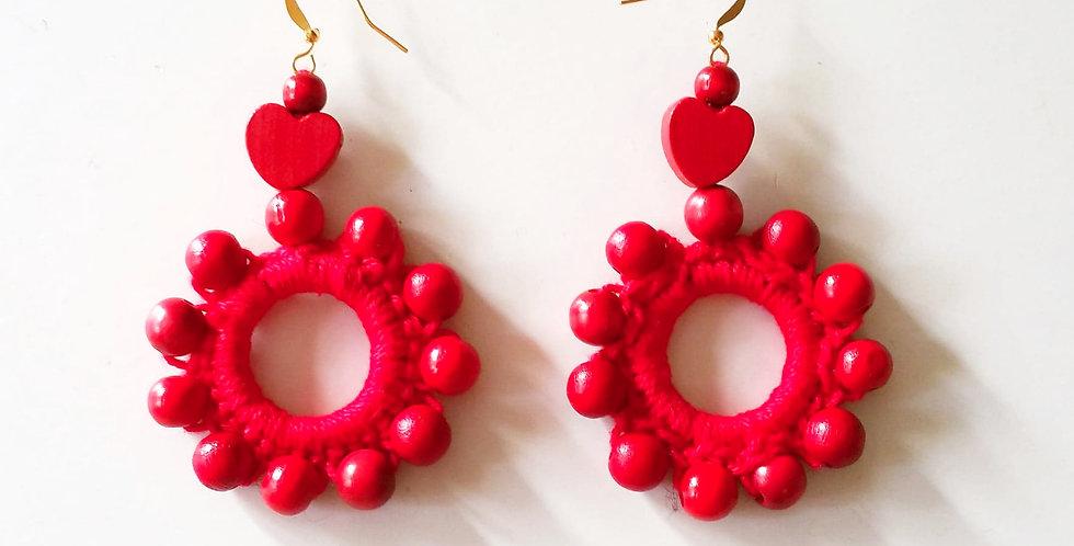 Sampo wheel earrings, red