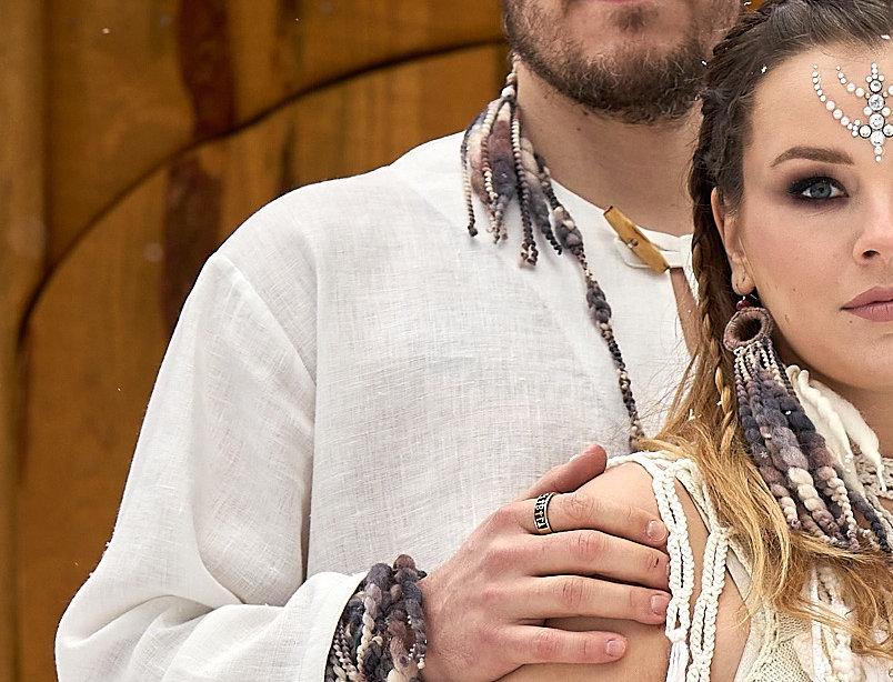 Tribal fringe bracelets, bark (unisex)