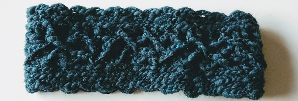 petrol crocheted magi headband