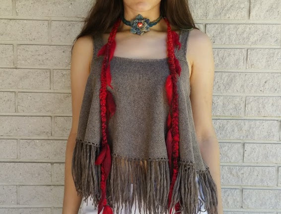wearing red crocheted city shaman garland