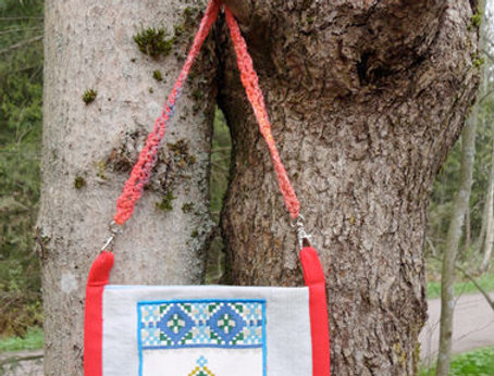 red recycle denim folk dance bag