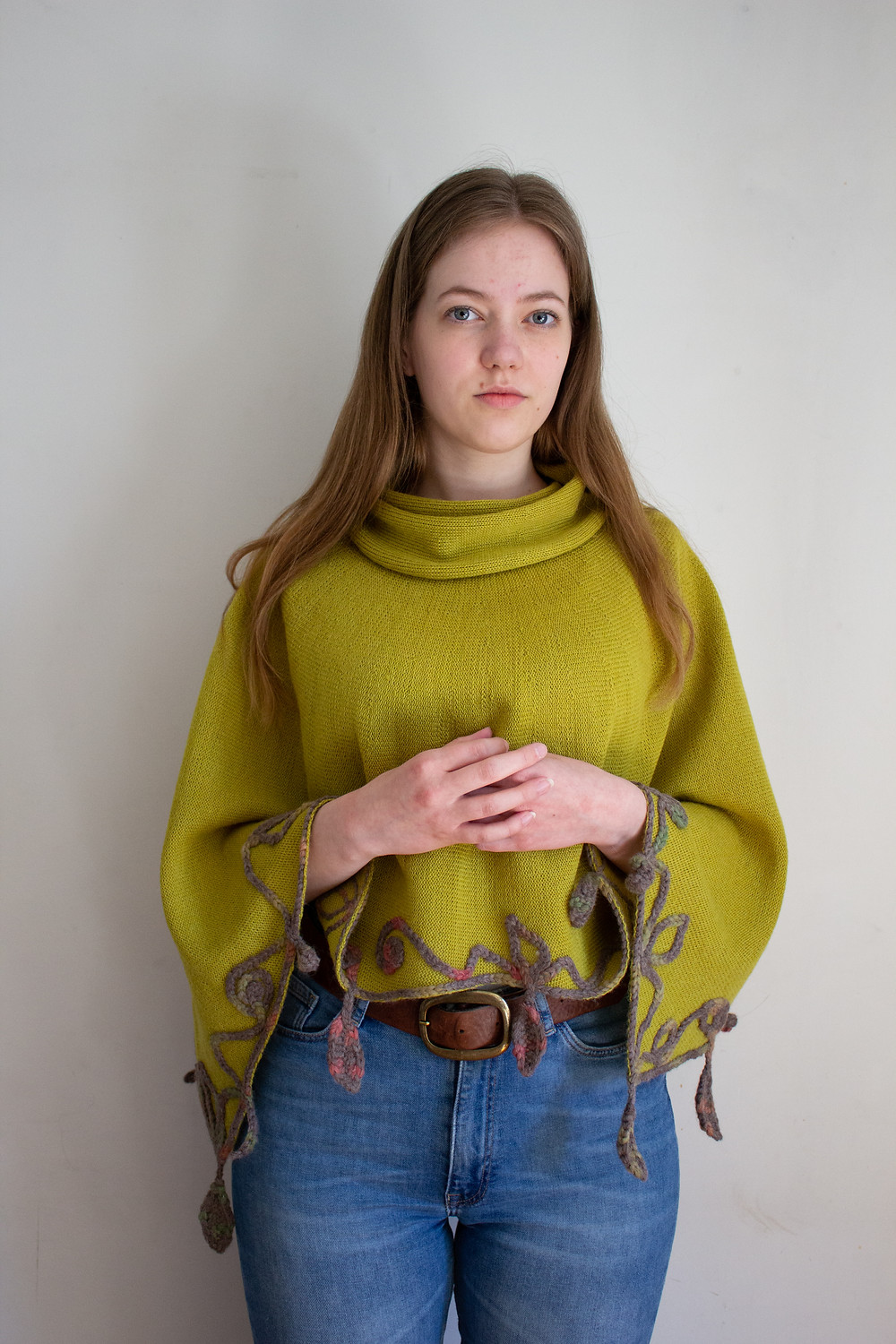 Lime knitted and crocheted Luonnotar poncho