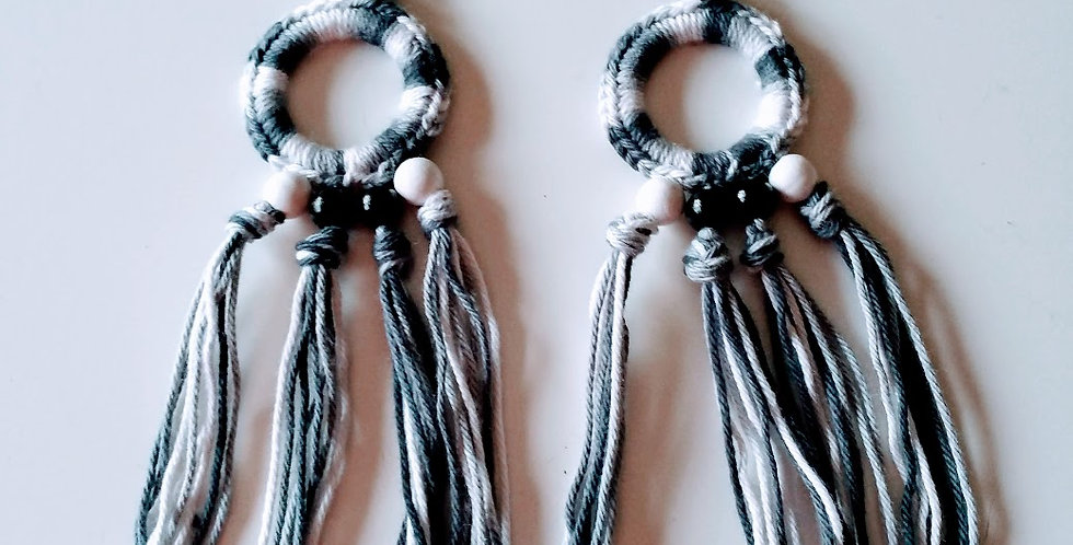 Grey crocheted fringe earrings with wooden pearls