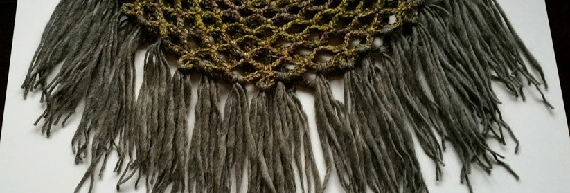 Forest green crocheted sunflower lace collar