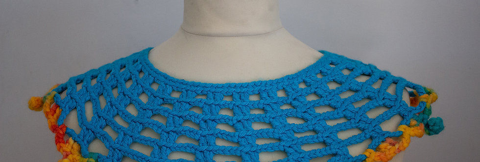 turquoise crocheted lace collar with colorful crocheted decoration