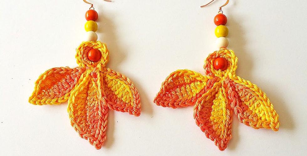 Fairy wings earrings, yellow