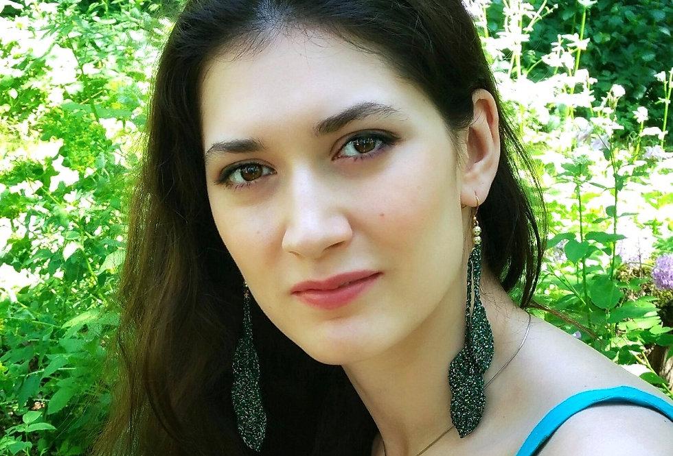 Source earrings, emerald green