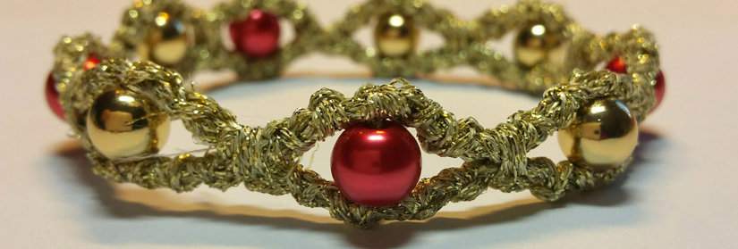 gold and red crochet miss galaxy bracelet