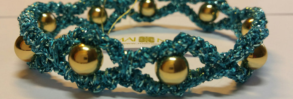 Turquoise crochet bracelet, miss galaxy