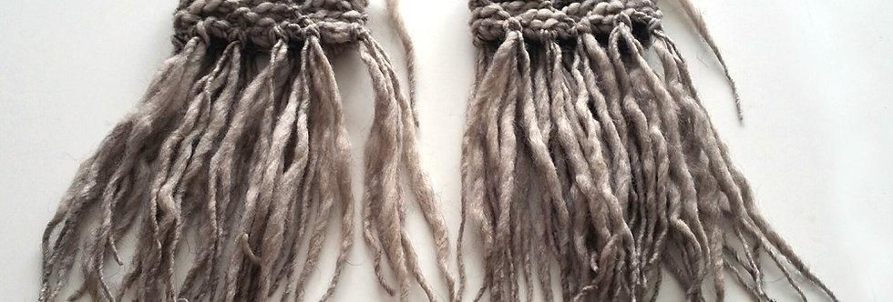 earth coloured crocheted tribal fringe bracelets