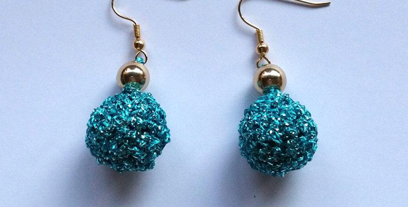 turquoise crochet golden age earrings