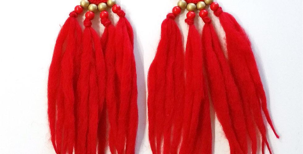 WoodO earrings (red)