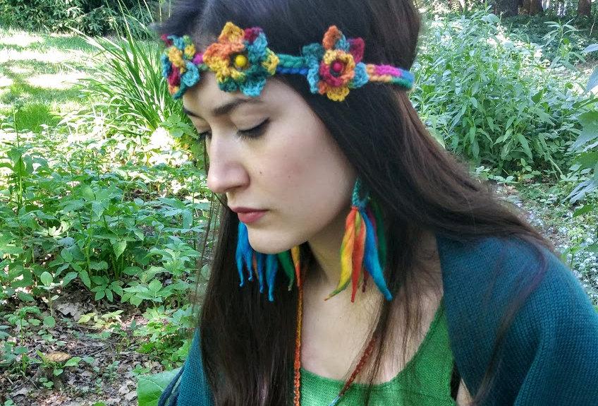 wearing aurora borealis woollen nordic light fringe earrings